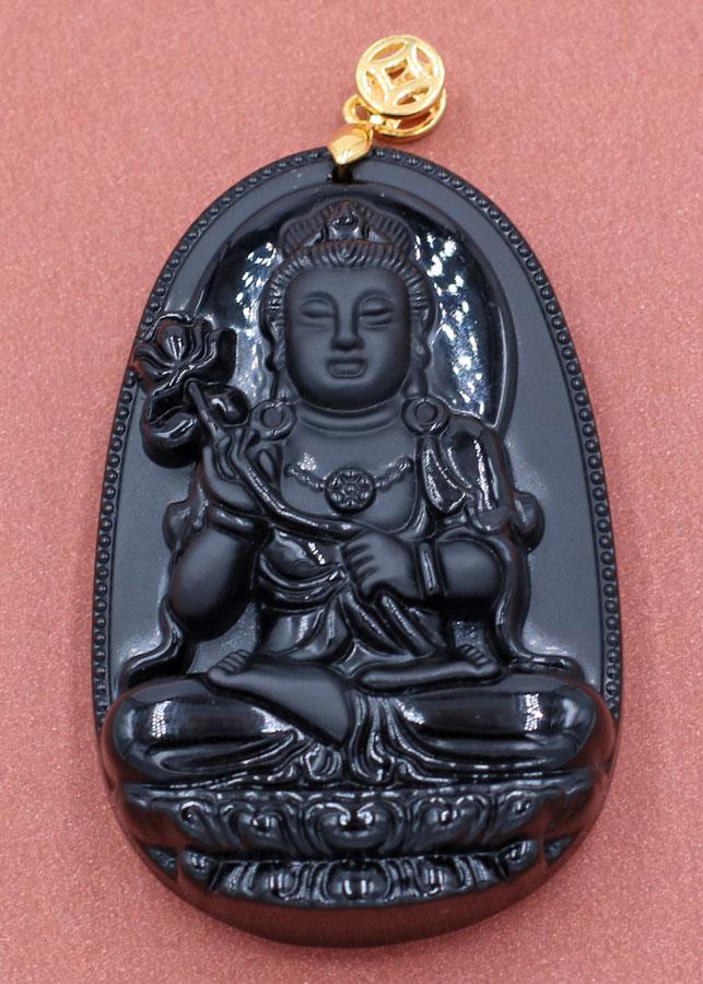 Mặt Phật - Đại Thế Chí Bồ Tát - thạch anh đen 6cm MDES4 - tuổi Ngọ