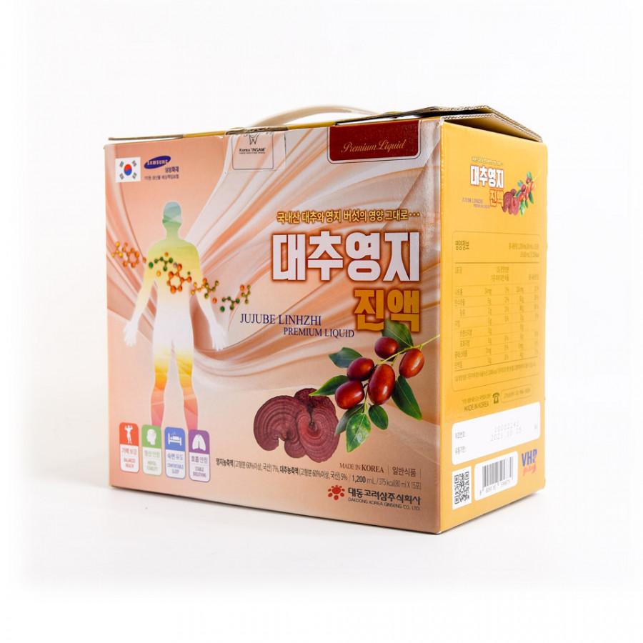 Hộp 15 Gói Nước Linh Chi Táo Đỏ Daedong Korea (80ml x 15) - Jujube Linhzhi Premium liquid 대추영지진액 - 759670 , 2792222175878 , 62_13376922 , 650000 , Hop-15-Goi-Nuoc-Linh-Chi-Tao-Do-Daedong-Korea-80ml-x-15-Jujube-Linhzhi-Premium-liquid--62_13376922 , tiki.vn , Hộp 15 Gói Nước Linh Chi Táo Đỏ Daedong Korea (80ml x 15) - Jujube Linhzhi Premium liquid 대