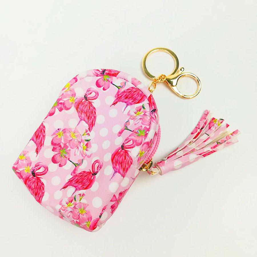 Móc khóa túi ví balo mini da PU - con hạc hồng đậm