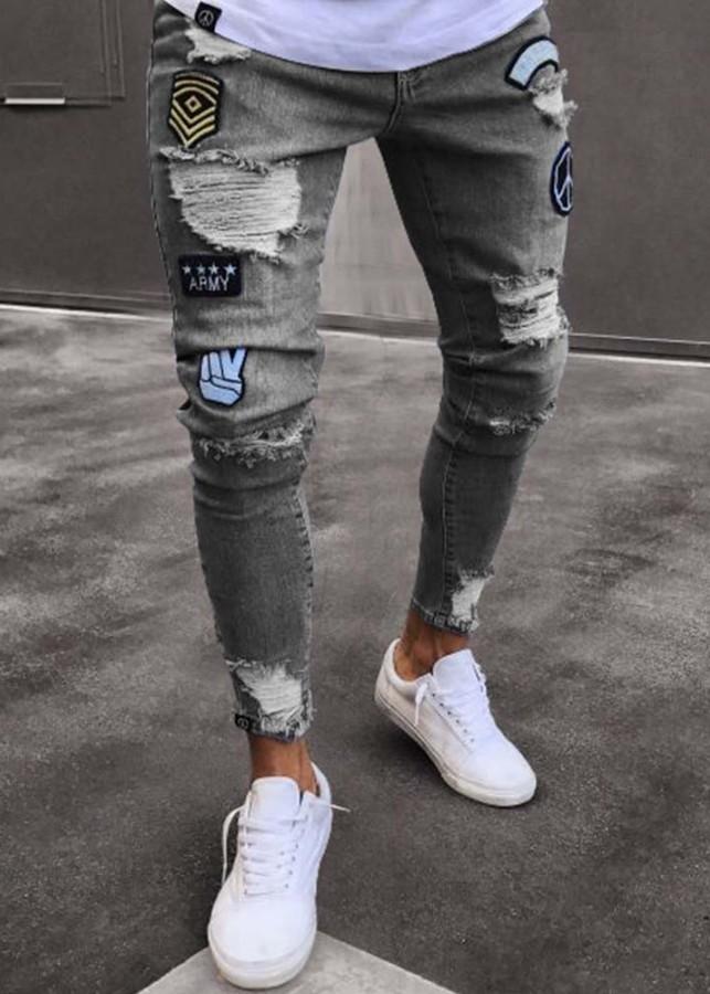 Quần jeans rách logo bàn tay Mã: ND1201 - XÁM