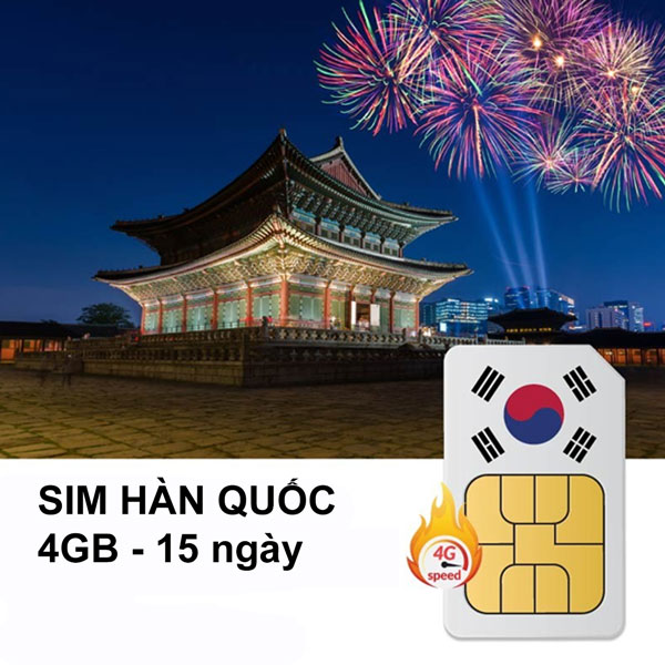 Sim 4G Hàn Quốc - Gói 4GB Trong 15 Ngày