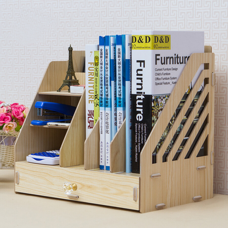 Wanshijia office desktop storage box wooden drawer type office supplies information book file wooden rack JD-B01 white maple