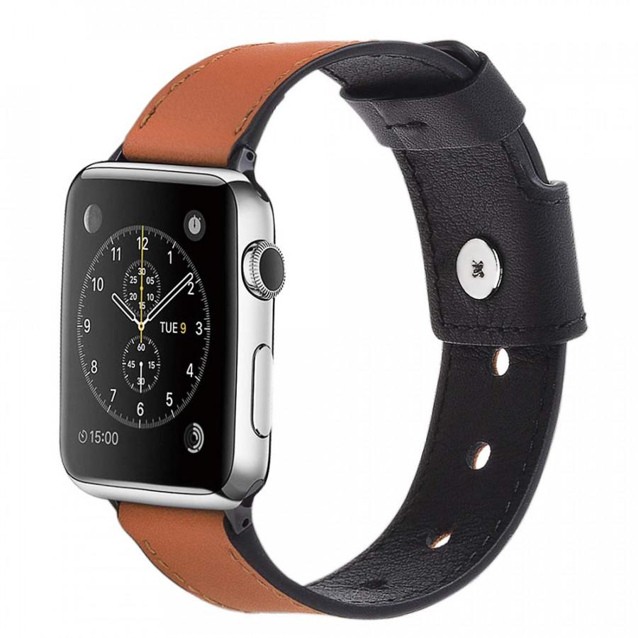 Dây đồng hồ Apple Watch 44mm/42mm/40mm/38mm, dây da 04 khóa bấm sang trọng