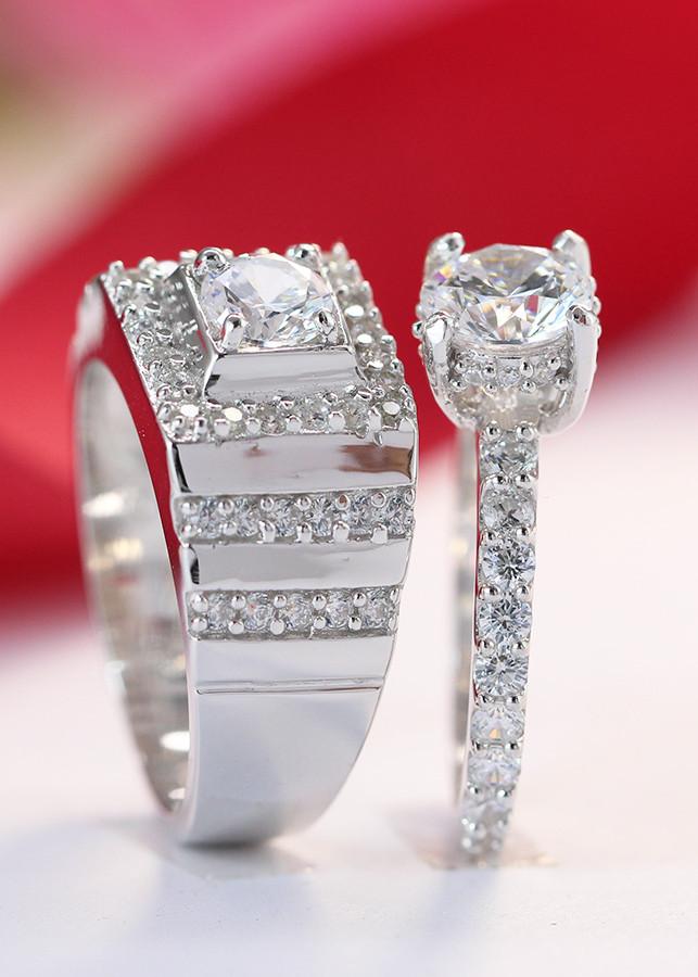 Nhẫn đôi bạc nhẫn cặp bạc đính đá ND0241