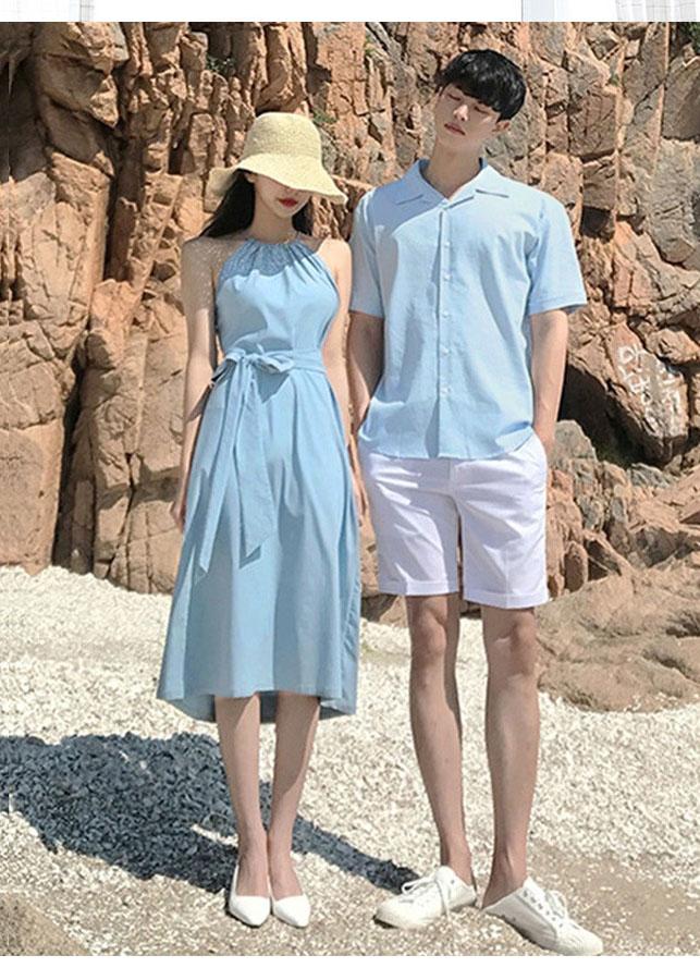 Bộ áo váy sơ mi cặp cao cấp du lịch, chụp cưới thời trang thiết kế nam nữ chất đẹp màu xanh HOT 2019 - AV177