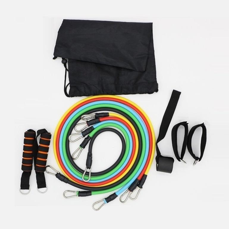 Dây đàn hồi tập Gym S1-D, bộ dây tập thể lực 5 màu - Bộ 11 chi tiết, dây tập kháng lực 100LB tiêu chuẩn - POKI
