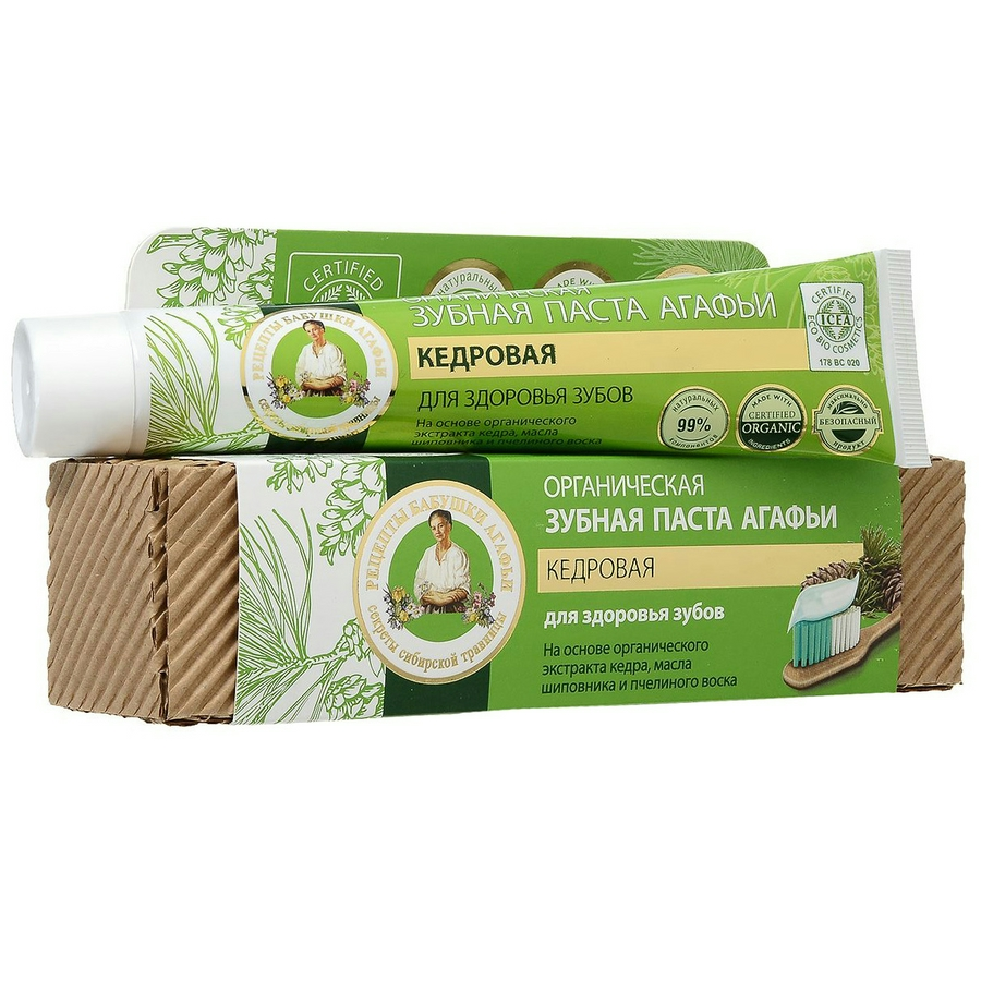 Kem đánh răng hữu cơ tinh chất thảo mộc tuyết tùng bí quyết Agafia Toothpaste Cedar 75ml