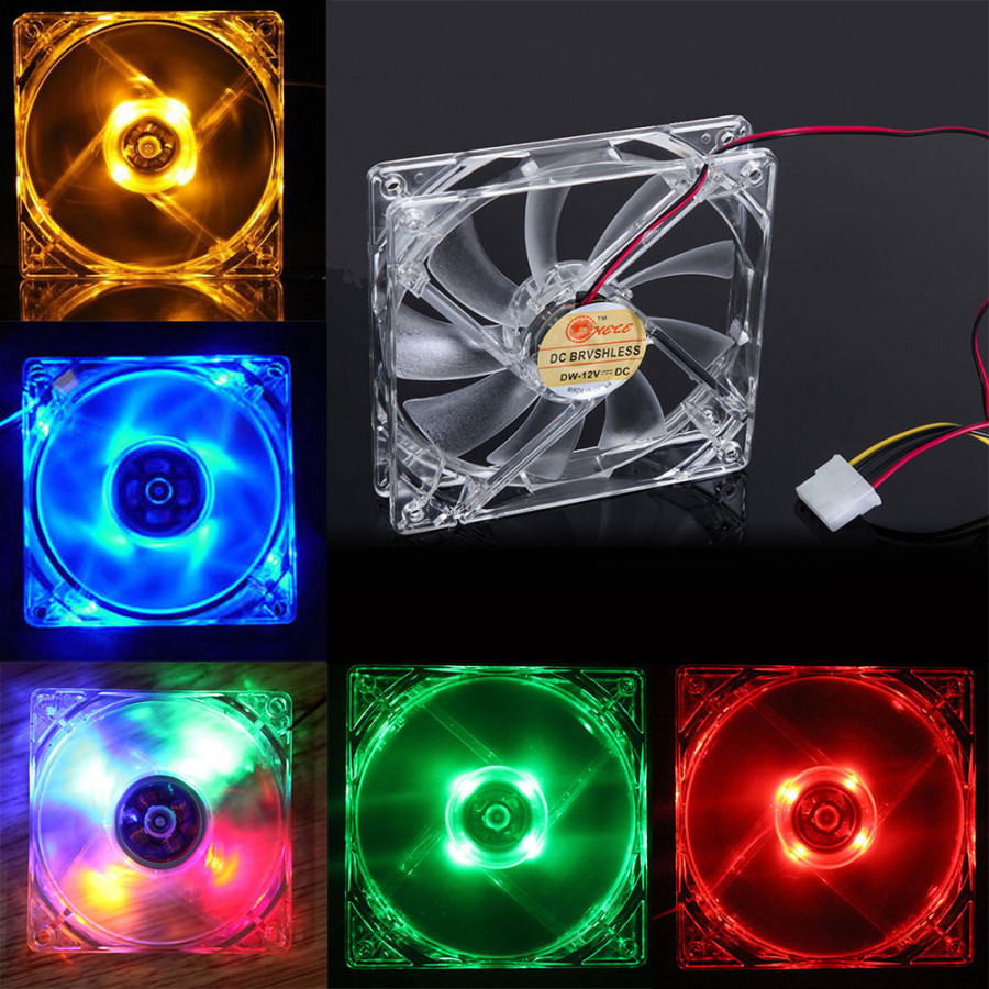 4 Pin 120mm Clear Case Quad LED Light 9-Blade CPU Cooling Heat Radiation Fan