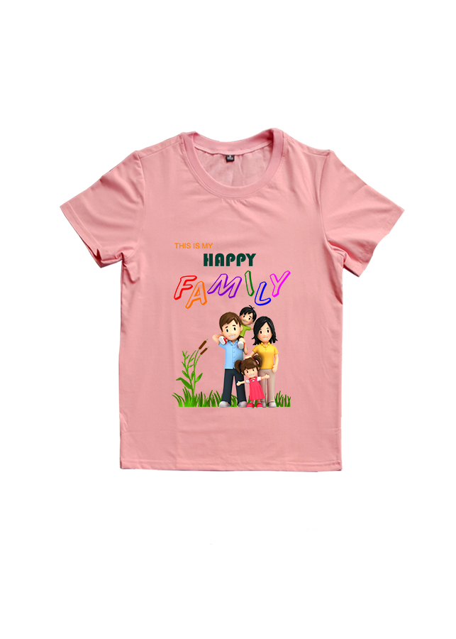 Áo Thun Gia Đình 3 Người In Họa Tiết Happy Family Màu Hồng Ruốc