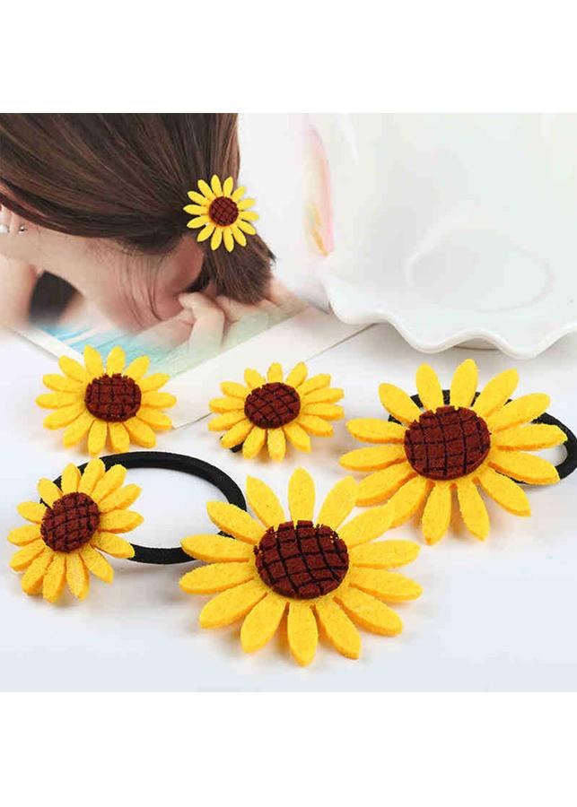 Combo 5 dây buộc tóc hoa hướng dương hoa mặt trời Harajuku - Tặng móc khóa gỗ