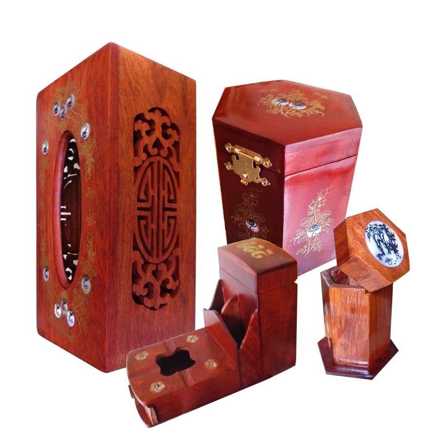 Bộ 4 món tiện ích bằng gỗ hương đỏ ,Hộp Trà nhỏ,gạt tàn,hộp tăm,hộp giấy COM4M02