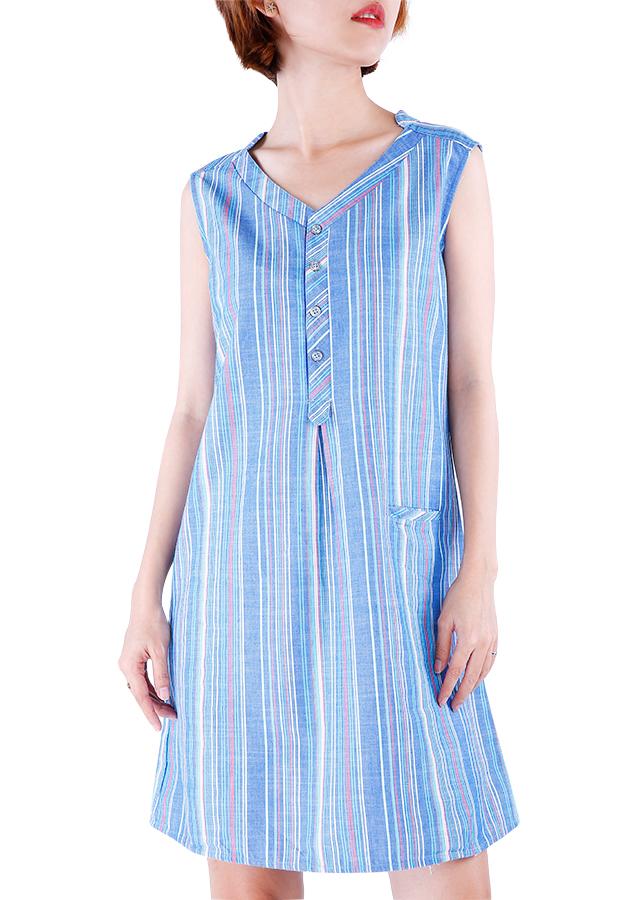 Váy Đũi Suông Kẻ Sọc Hoa Việt - BH046