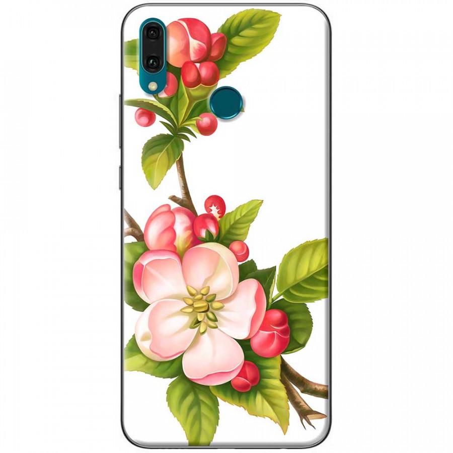 Ốp lưng dành cho Huawei Y9 2019 mẫu Hoa đào đỏ nền trắng