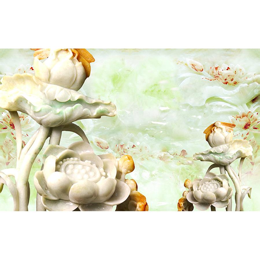 Tranh dán tường 3d | Tranh dán tường phong thủy hoa sen cá chép 3d 109