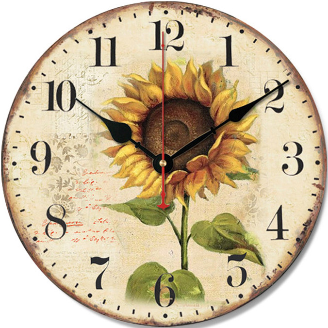 Đồng hồ treo tường Vintage Phong cách Châu Âu size to 30cm DH24 Hướng dương
