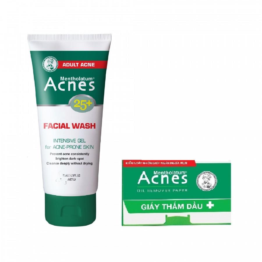 Combo Gel Rửa Mặt Ngăn Ngừa Mụn Tuổi Trưởng Thành Acnes 25+ Facial Wash (100g) + Giấy Thấm Dầu Acnes Oil Remover (50 tờ)