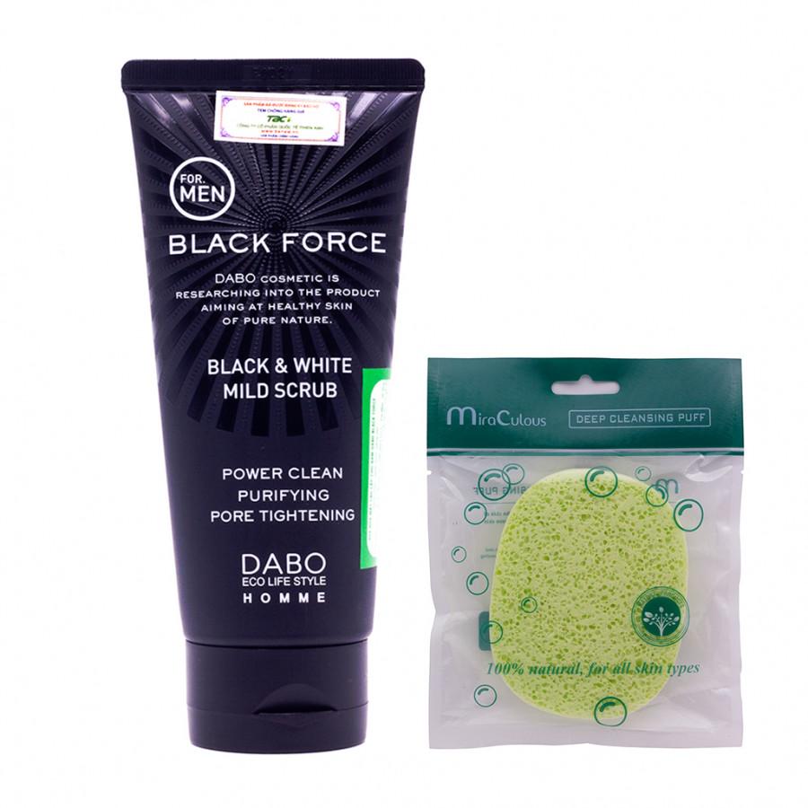 Como Sữa Rửa Nam Sạch Nhờn, Trắng Da Dabo Black Force (120ml) + Tặng Bông Bọt Biển Rửa Mặt Cao Cấp Hàn Quốc Mira...