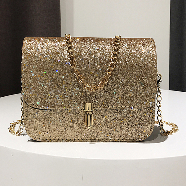 New Fashion Women Sequined Crossbody Bag PU Leather Chain Mini Messenger Shoulder Bag Glitter Handbag