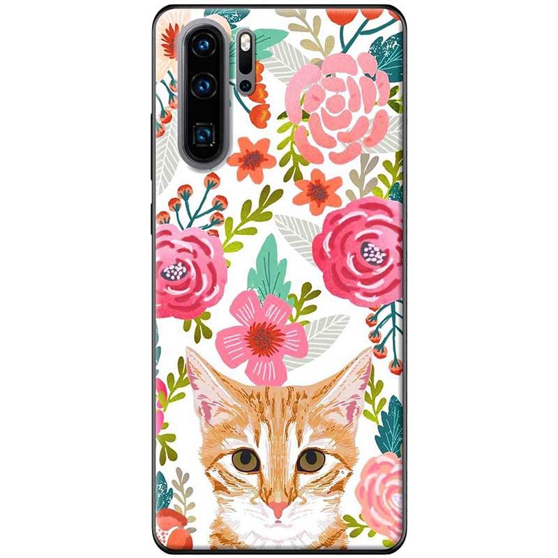 Ốp lưng dành cho  Huawei P30 Pro  mẫu Mèo hoa