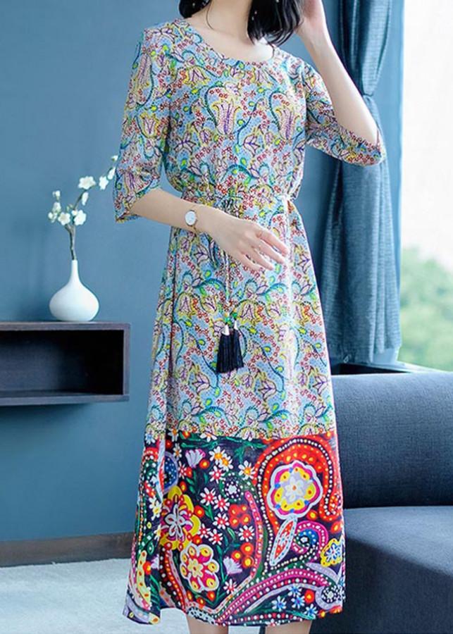 Đầm Suông Họa Tiết Hoa Kèm Dây Thắt Eo Korea TT - KRTT2003