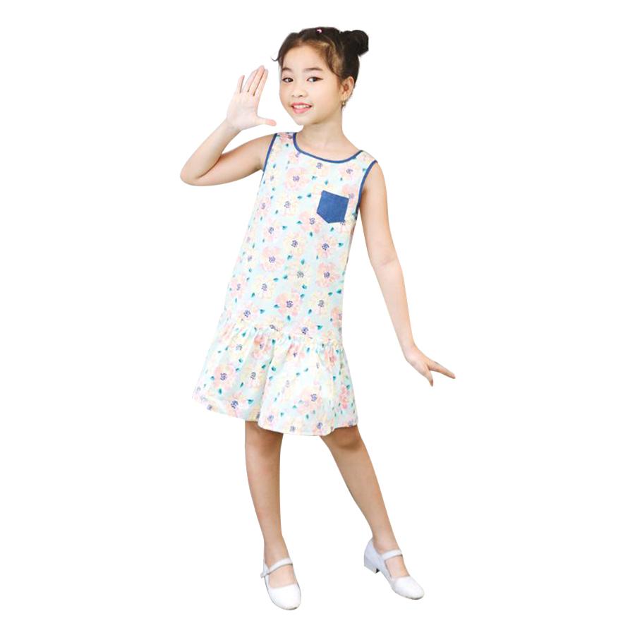 Đầm Hoa Hạ Eo Phối Túi Jeans Genii Kids - Xanh Nhạt