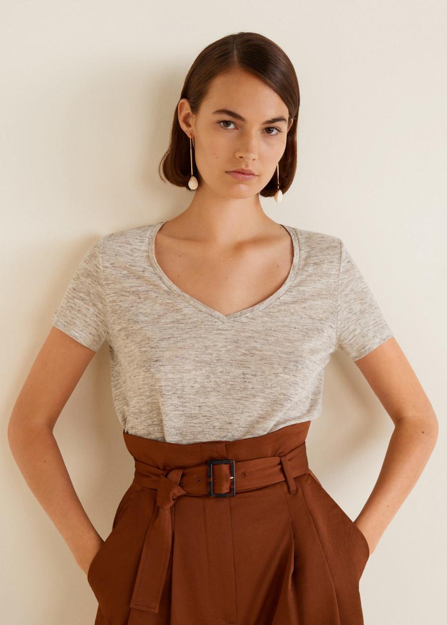 Áo Thun Nữ T-shirt Lino Mango 21015728 - Mã Màu 6