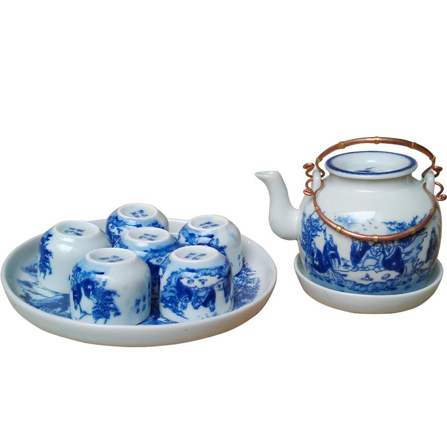 Bộ ấm chén men lam lõm Trúc Lâm Thất Hiền chính hãng gốm sứ Bát Tràng - bộ bình uống trà cao cấp