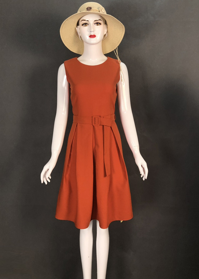 Đầm xòe đẹp kiểu đầm xòe dạo phố thanh lịch sát nách đơn giản kèm belt màu cam D3035