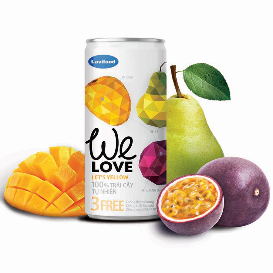 Nước trái cây tự nhiênWE LOVE Let's Yellow 200ml x1 Lon