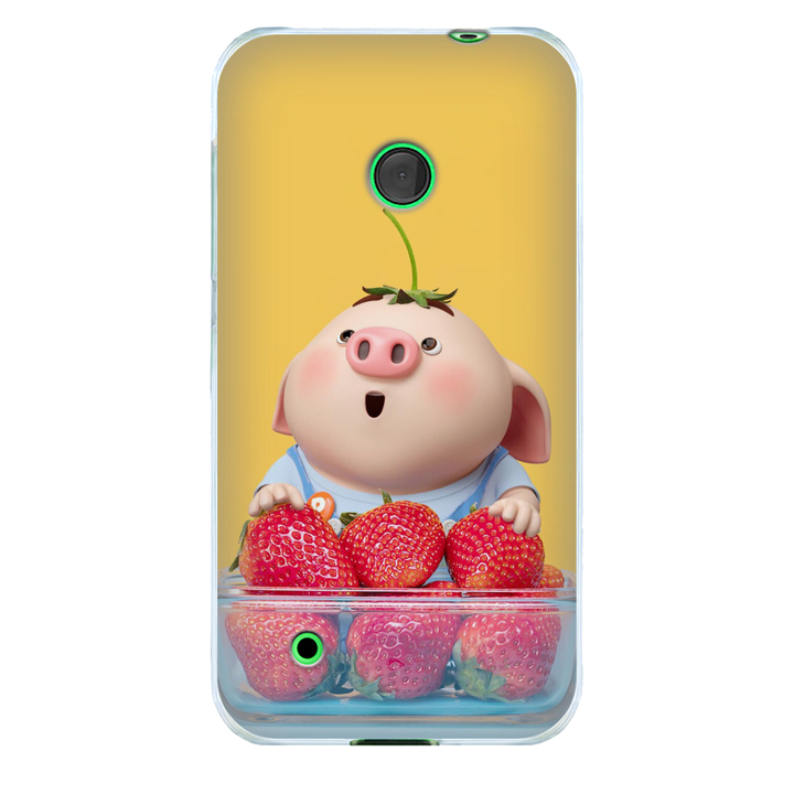 Ốp lưng nhựa cứng nhám dành cho Nokia Lumia 530 in hình Heo Con Dâu Tây