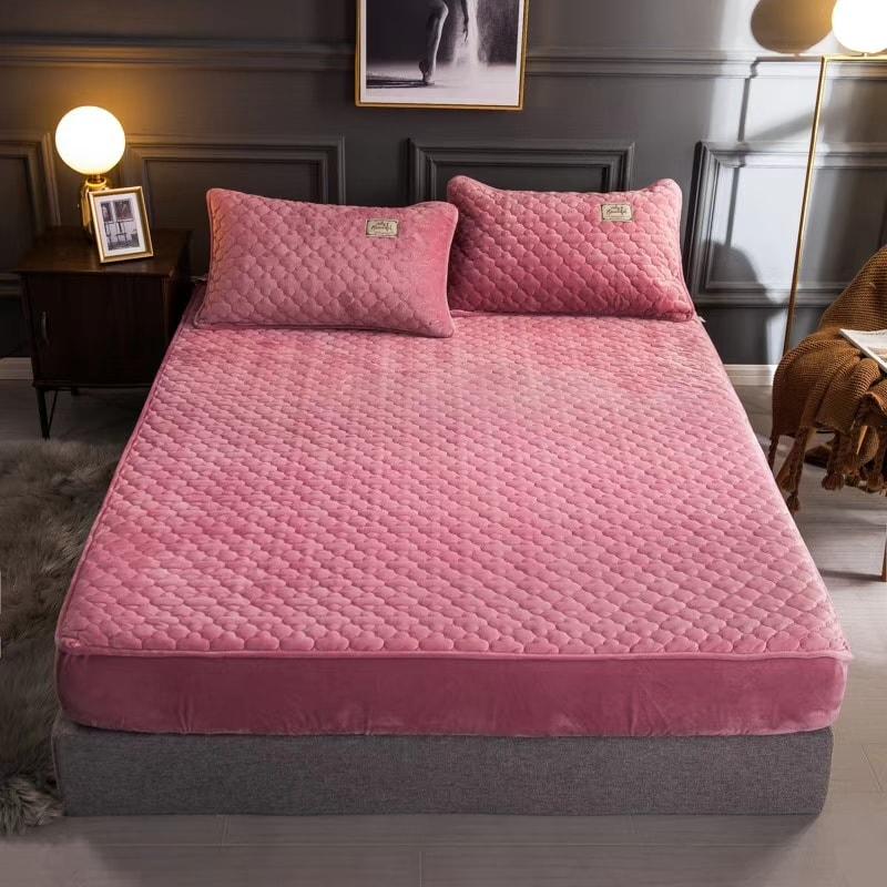 Thảm trải giường Muji - màu hồng