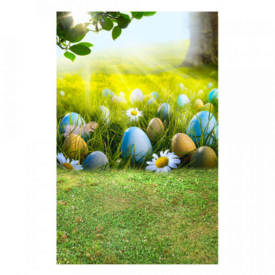 Easter Theme Photography Background Eggs Rabbit Flowers Grassland Baby Child Photo Backdrops For Photo Studio