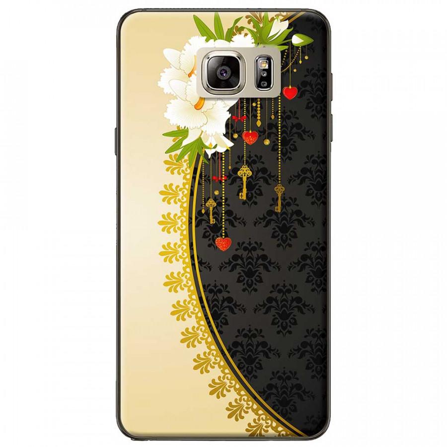 Ốp lưng dành cho Samsung Galaxy Note 5 mẫu Hoa trắng vàng đen