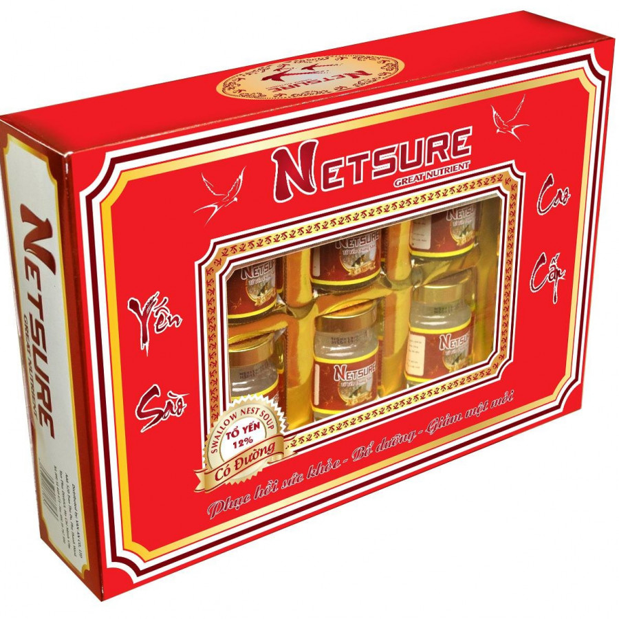 Hộp Yến Sào Cao Cấp Netsure có đường (15% yến, 6 lọ/hộp)