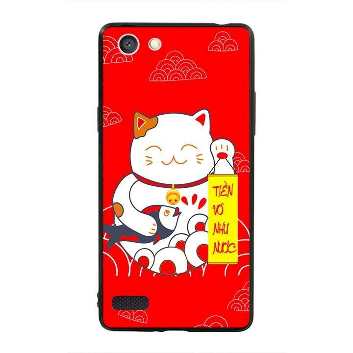 Ốp lưng viền TPU cho dành cho Oppo Neo 7 - Mèo May Mắn 01