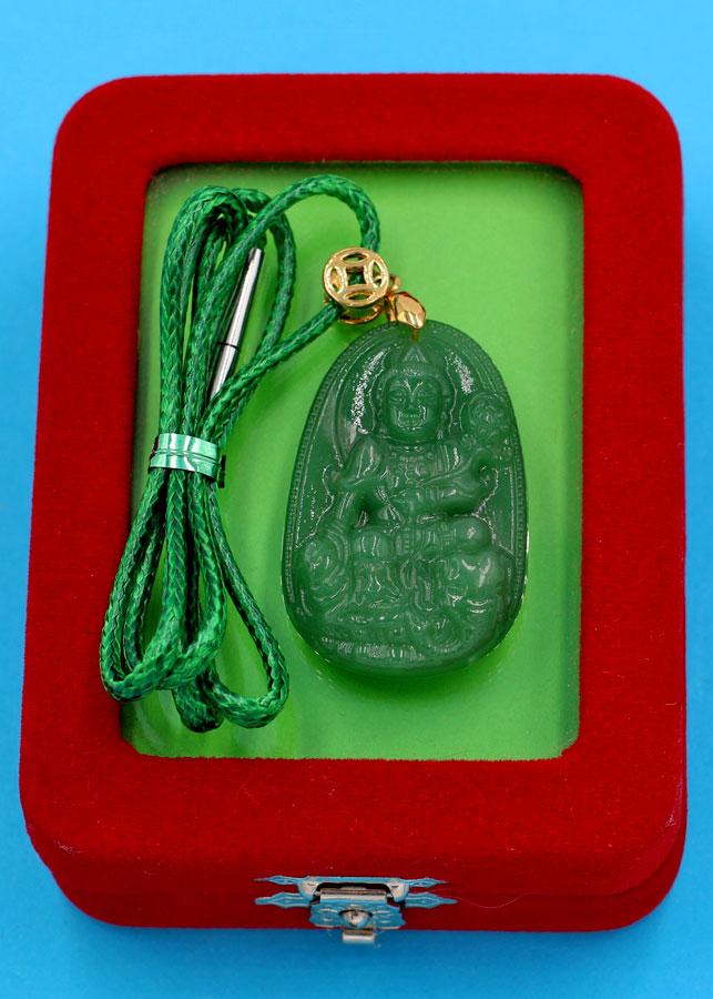Vòng cổ mặt Phổ Hiền Bồ Tát - thạch anh xanh 3.6cm DXTXA2 - kèm hộp nhung - tuổi Thìn, Tỵ