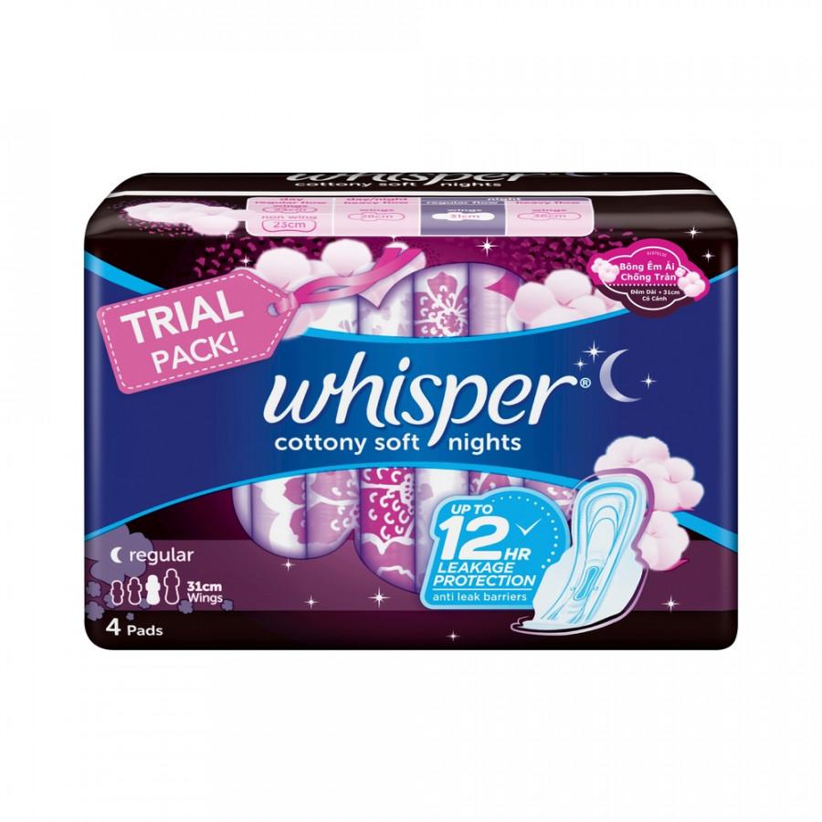 Băng Vệ Sinh Whisper Cotton Cánh Thường 31 cm (4 miếng) - 6238916 , 9051067927022 , 62_10063400 , 17500 , Bang-Ve-Sinh-Whisper-Cotton-Canh-Thuong-31-cm-4-mieng-62_10063400 , tiki.vn , Băng Vệ Sinh Whisper Cotton Cánh Thường 31 cm (4 miếng)