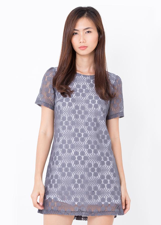 Đầm Suông Ren Bigsize - Xám Đồng Tiền- Citino
