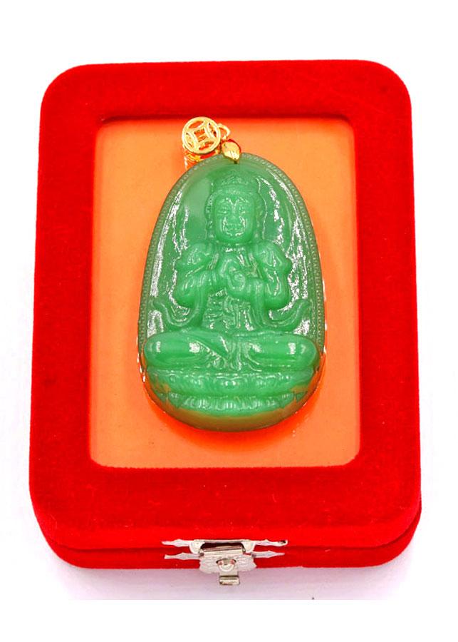 Mặt Phật Đại Nhật Như Lai - thạch anh xanh 5cm MTXN5 - kèm hộp nhung - Tuổi Mùi, Thân