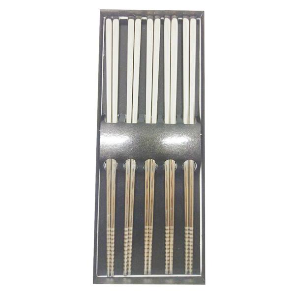 1367055120701 - Set 5 đôi đũa inox cầm đầm tay, chắc chắn, không trơn Nhật Bản