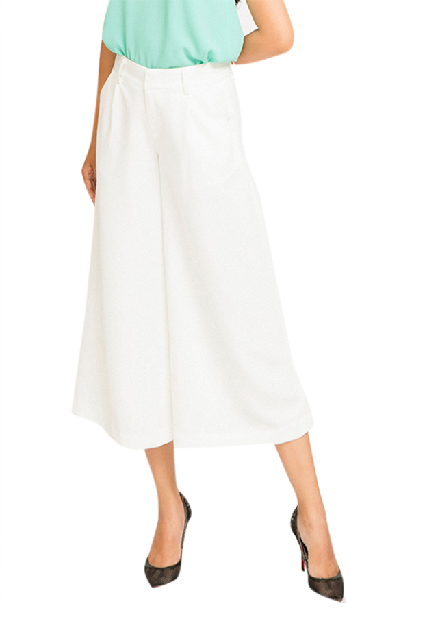 Quần Lửng Ống Rộng Culottes PAN018 - Trắng Blanc