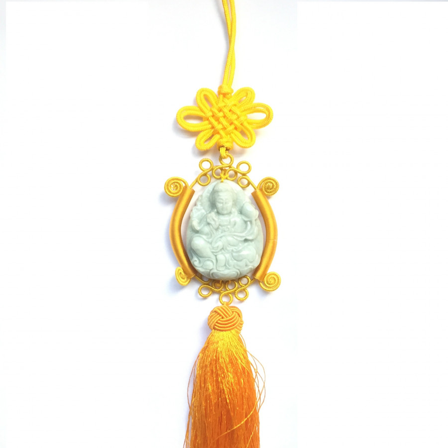 Dây Treo Xe Hơi Phật Bà Quan Âm Đá Cẩm Thạch - NEJA Gemstones