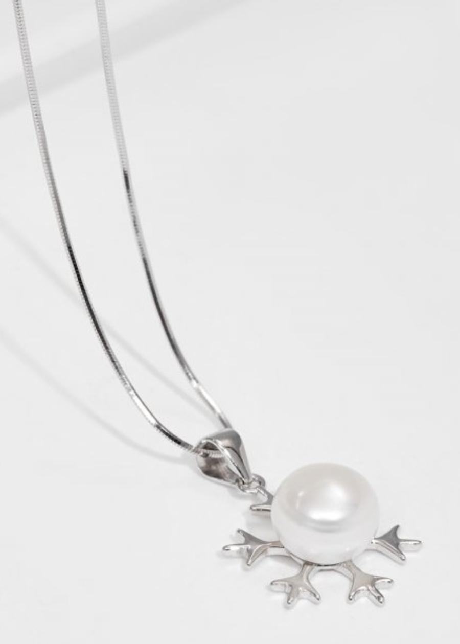 Dây chuyền bạc Italy bông tuyết ngọc trai trắng cao cấp