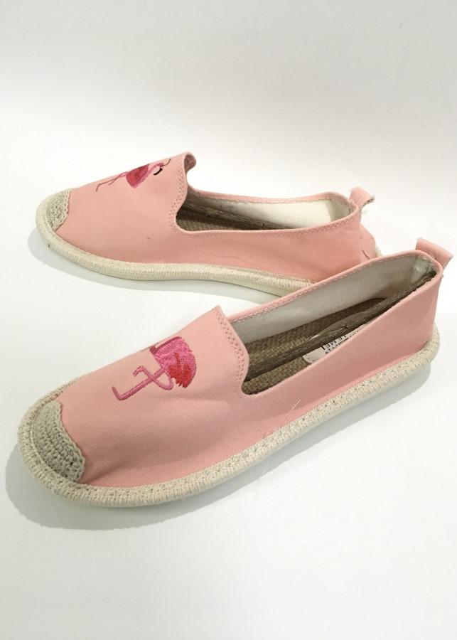 Giày đế cói thêu hồng hạc thời trang G12