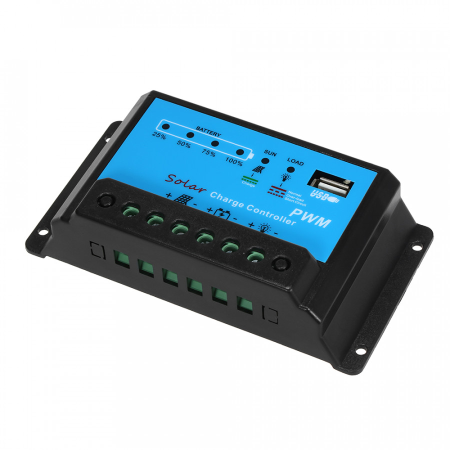 10A Solar Charge Controller Solar Panel Battery Controller PWM 12V/24V Intelligent Regulator with USB 5V