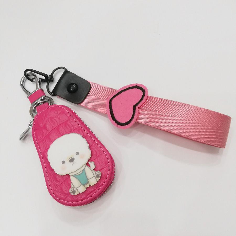 Móc khóa dạng bóp hình cún trắng đáng yêu - màu hồng phối dây hồng