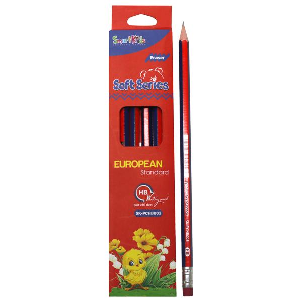 Hộp 12 Bút Chì Đen SMARTKIDS Soft Series Có Gôm HB SK-PCHB003 - Đỏ (21.2 x 4.6 x 1.5 cm)