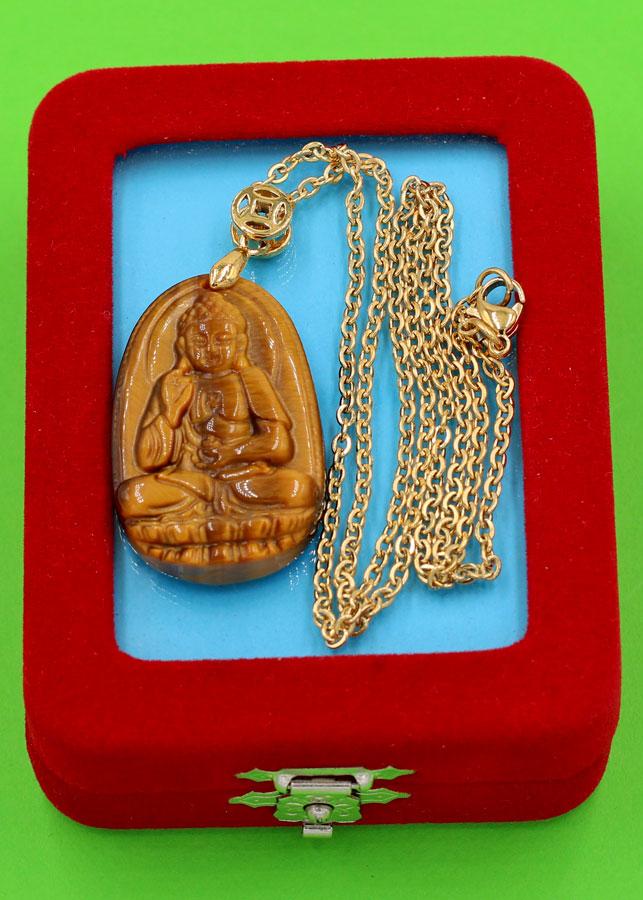 Vòng cổ mặt Phật A Di Đà - đá mắt hổ 3.6cm DIVMTB7 - dây inox vàng - kèm hộp nhung - tuổi Tuất, Hợi