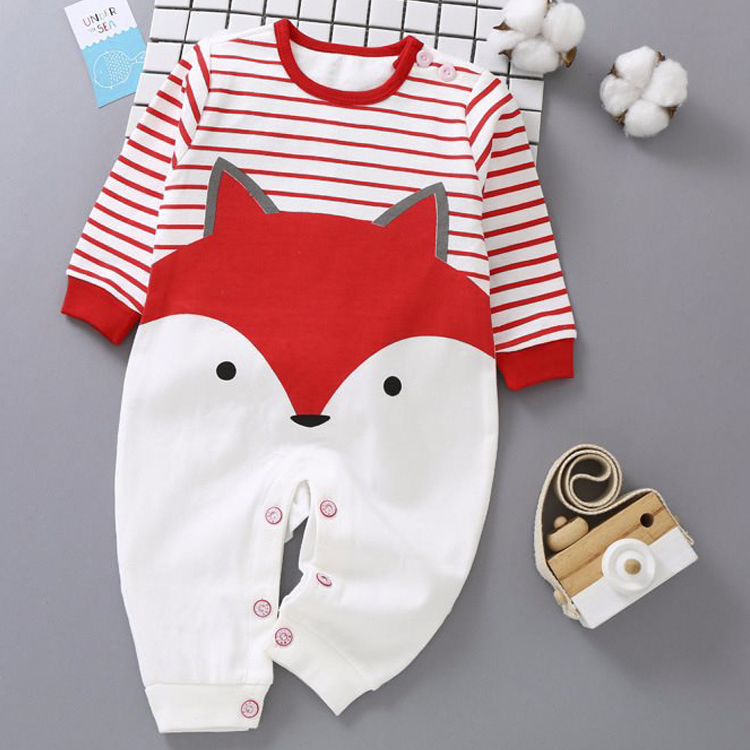 Bộ áo liền quần cho bé sơ sinh họa tiết hình cáo 80105