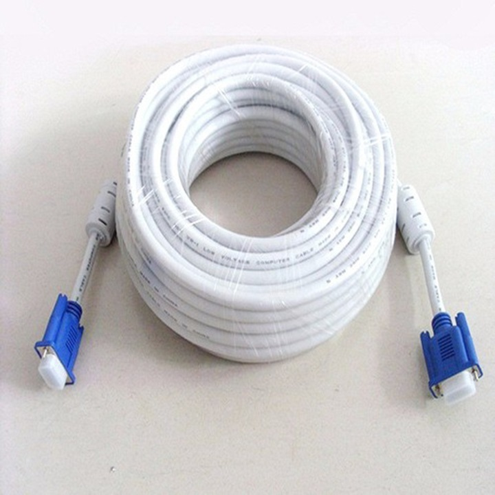 Cable tín hiệu VGA trắng 15 M (2 cục chống nhiễu)